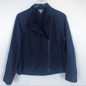 J. Jill Navy asymmetrical zip up jacket